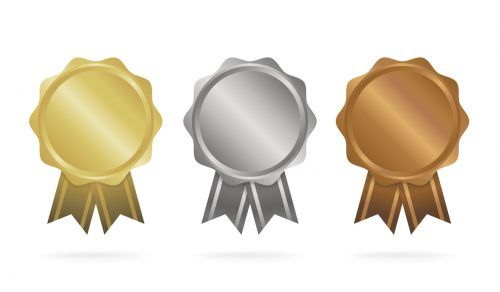 Bronze, silver and gold medal vector illustration