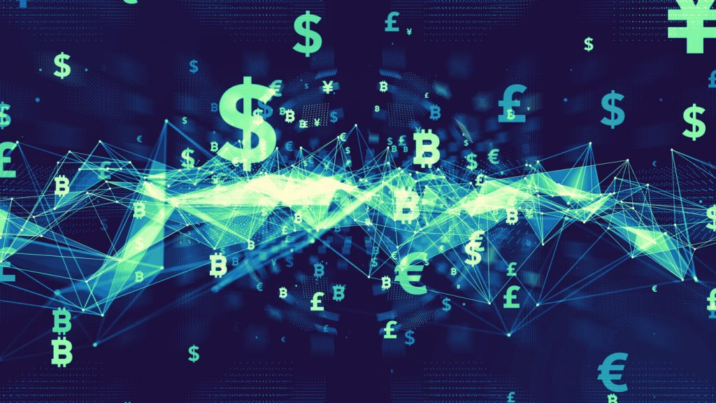 bitcoin, euro, pound and dollar signs floating around