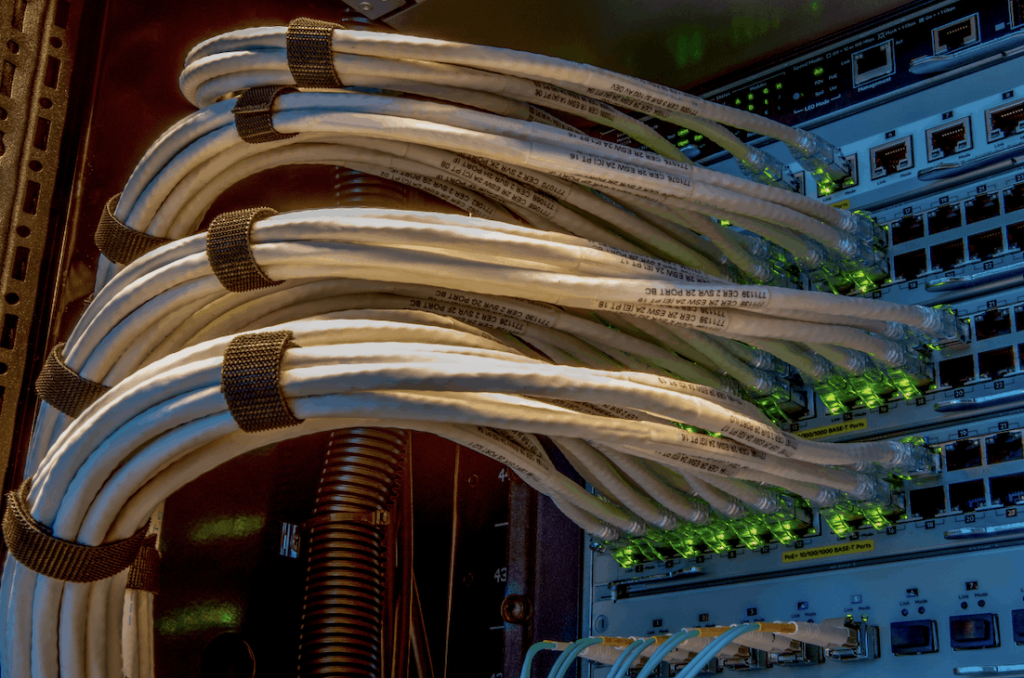 data cables connected to a power source